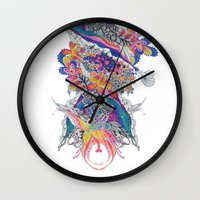 psych Wall Clocks featuring Psych by Sushibird