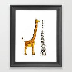 Who is taller Giraffe or Penguins? Framed Art Print