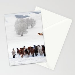 Horses running on the snow Stationery Cards