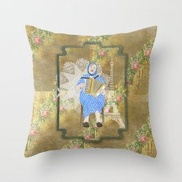 Woman Playing the Accordion Throw Pillow