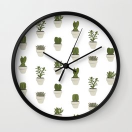 Cacti & Succulents - White Wall Clock