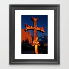 Cross Outside of St. Barbara Greek Orthodox Church, Santa Barbara, CA Framed Art Print