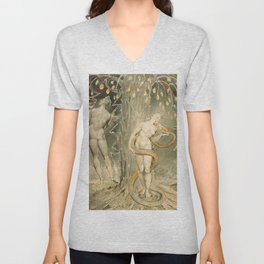 """William Blake """"The Temptation and Fall of Eve (Illustration to Milton's 'Paradise Lost')"""" Unisex V-Neck"""
