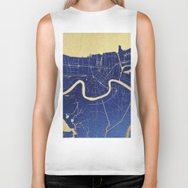 New Orleans Blue and Gold Map Biker Tank