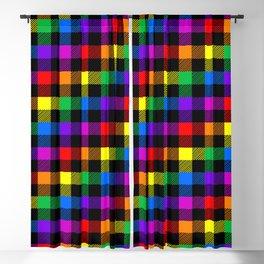 rainbow buffalo plaid Blackout Curtain