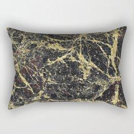 Marble - Glittery Gold Marble on Black Design Rectangular Pillow