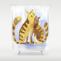 cats Shower Curtains featuring Cats by Anna Shell