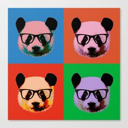 Panda with glasses in 4 Colors Canvas Print