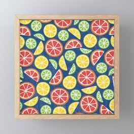 Vitamin C Super Boost - Citric Fruits on Blue Framed Mini Art Print