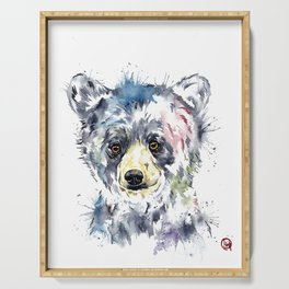 Baby Black Bear Watercolor Painting Serving Tray