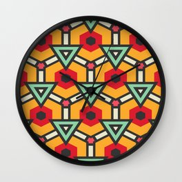 Triangles and hexagons pattern Wall Clock