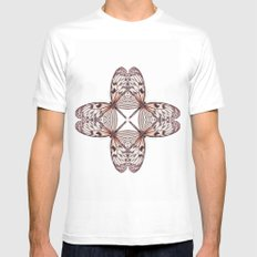 Rice Paper Butterfly Symmetry White MEDIUM Mens Fitted Tee