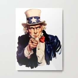 Uncle Sam Pointing Finger Metal Print