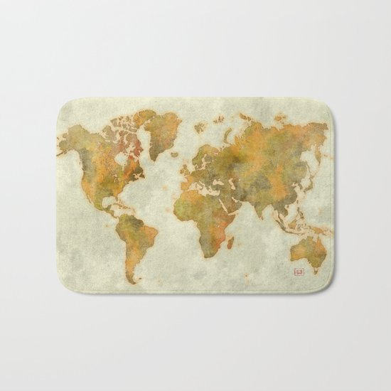 World Map Yellow Vintage Bath Mat
