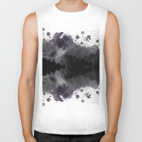 Watercolor forest reflections -abstract Biker Tank