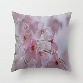 Delicate Pink Blossoms Throw Pillow