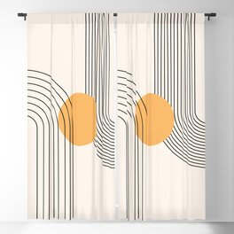 Geometric Lines in Black and Beige 37 (Rainbow and Sun Abstract) Blackout Curtain