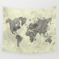 vintage map Wall Tapestries featuring World Map Black Vintage by City Art Posters