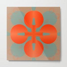 Bold Orange Pattern Abstract Metal Print