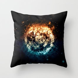 Burning Circle - Fire and Ice - Isolated Throw Pillow