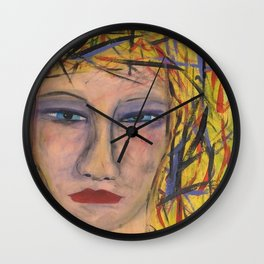 Abstract Portrait Face of an Angry Woman outsider visionary artist Wall Clock