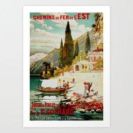 Switzerland and Italy Via St. Gotthard Travel Poster Art Print