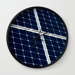 Image Of A Photovoltaic Solar Battery. Free Clean Energy For Everyone Wall Clock