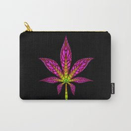Pink and Yellow Psychedelic Cannabis Leaf Carry-All Pouch