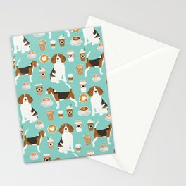 Beagle coffee print cute dog beagles coffees lattes Stationery Cards