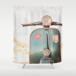 The Blue Vespa Shower Curtain