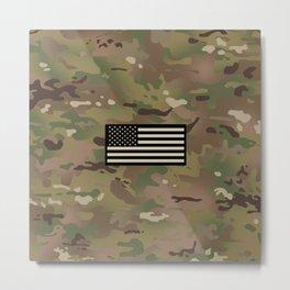 U.S. Flag: Woodland Camouflage Metal Print