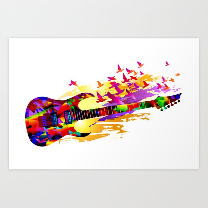 Abstract Acoustic Guitar Art