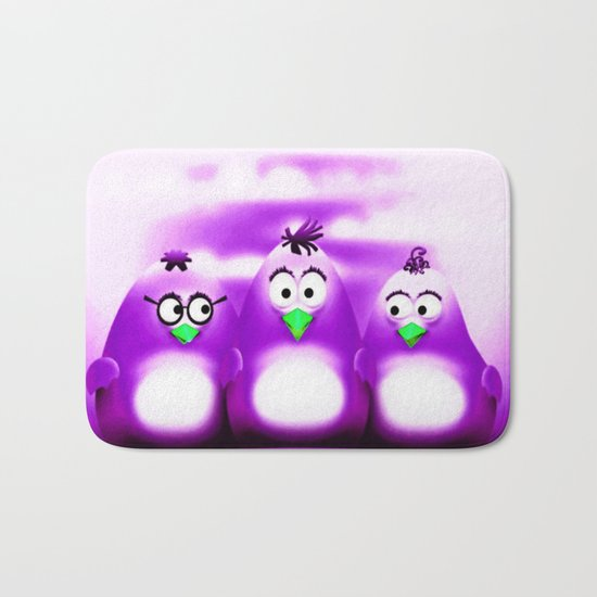 Penguin Triplet Purple Bath Mat