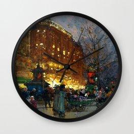 Le Grand Boulevard, Paris by Eugène Galien-Laloue Wall Clock
