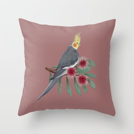 Normal Grey Cockatiel Throw Pillow