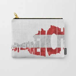 Austria (Österreich) Typographic World Map / Austria Typograpy Flag Map Art Carry-All Pouch