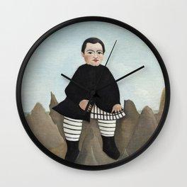 Boy on the Rocks (ca. 1895–1897), Fine french art,  by Henri Rousseau Wall Clock