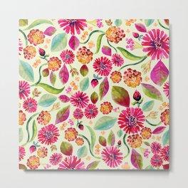 Pink & Orange Watercolor Flower Pattern Metal Print