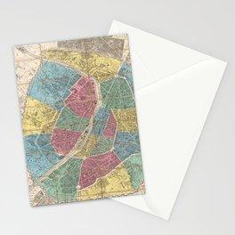 Vintage Map of Paris France (1863) Stationery Cards