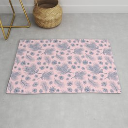 Pine Cones and Pine Branches Pattern (Pink and Blue) Rug