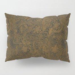 Vintage Art Nouveau woodcut on faux leather pattern Pillow Sham