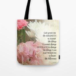 Serenity Prayer Bouquet Tote Bag