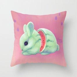 Bunnymelon Throw Pillow