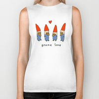gnome Biker Tanks featuring Gnome Love by Sophie Corrigan