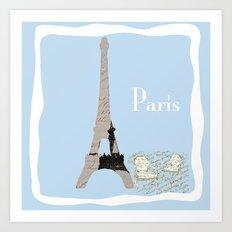 Paris in Powder Blue Art Print