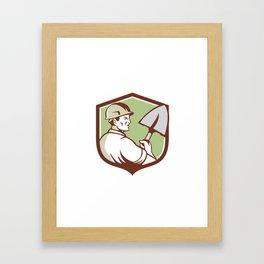 Construction Worker Spade Crest Retro Framed Art Print