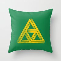 triforce Throw Pillows featuring Penrose Triforce by John Tibbott