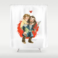 the hobbit Shower Curtains featuring Hobbit Hug by Super Group Hugs