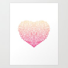 Pink Heart - Light White background Art Print