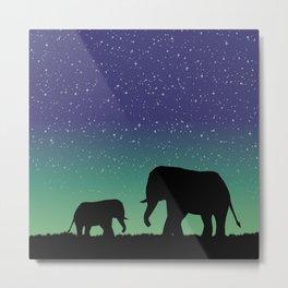 Elephant Silhouettes  Metal Print